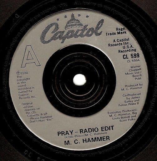 MC HAMMER Pray Vinyl Record 7 Inch Capitol 1990