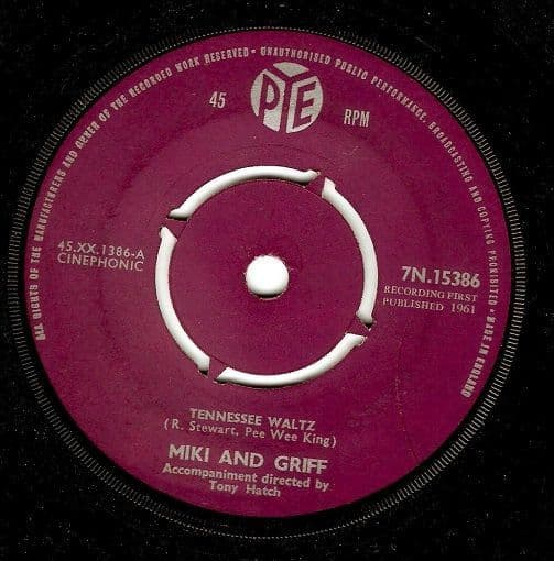 MIKI AND GRIFF Tennessee Waltz Vinyl Record 7 Inch Pye 1961