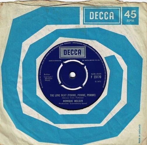 MONIQUE MELSEN The Love Beat (Pomme, Pomme, Pomme) Vinyl Record 7 Inch Decca 1971
