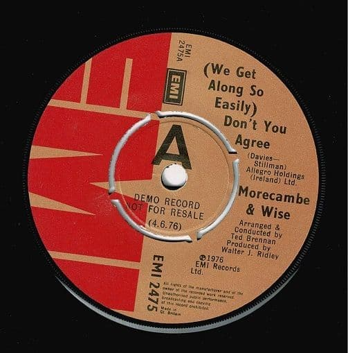 MORECAMBE & WISE (We Get Along So Easily) Don't You Agree Vinyl Record 7 Inch EMI 1976 Demo