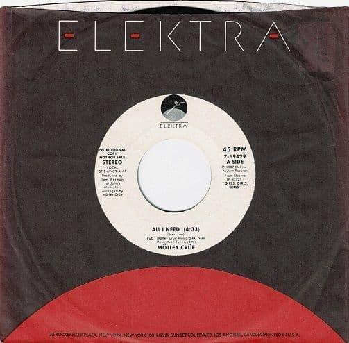 MOTLEY CRUE All I Need Vinyl Record 7 Inch US Elektra 1987 Promo