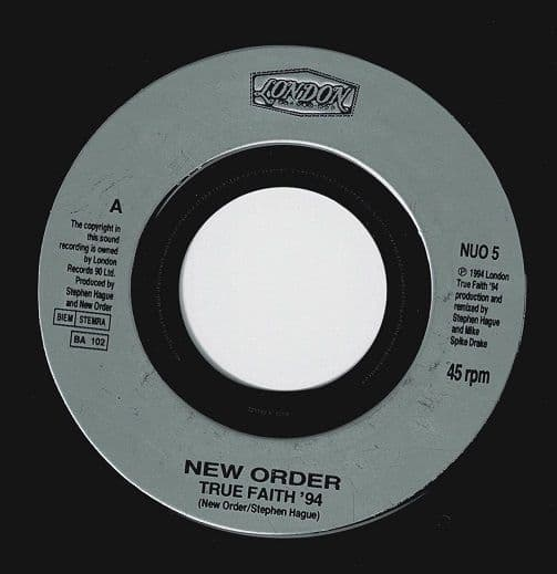 NEW ORDER True Faith '94 Vinyl Record 7 Inch London 1994