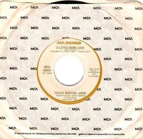 OLIVIA NEWTON-JOHN A Little More Love Vinyl Record 7 Inch US MCA 1978