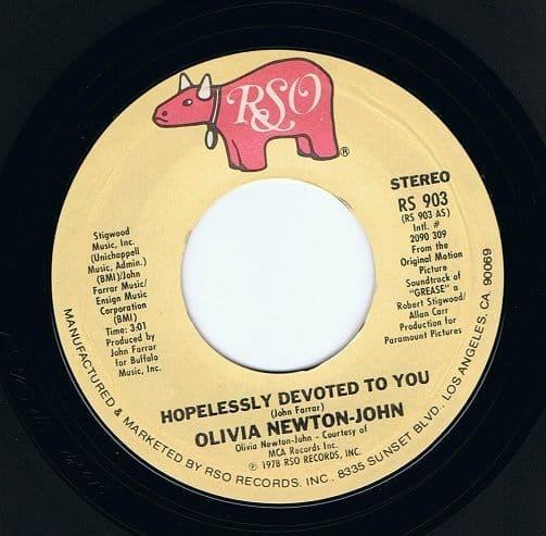 OLIVIA NEWTON-JOHN Hopelessly Devoted To You Vinyl Record 7 Inch US RSO 1978