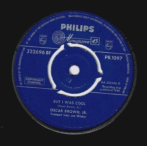 OSCAR BROWN, JR. But I Was Cool Vinyl Record 7 Inch Philips 1960