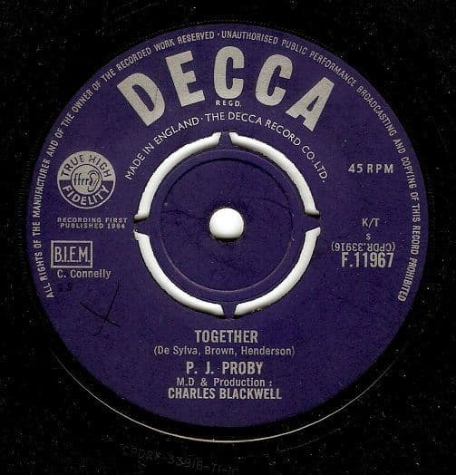 P. J. PROBY Together Vinyl Record 7 Inch Decca 1964.