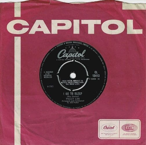 PEGGY LEE I Go To Sleep Vinyl Record 7 Inch Capitol 1965