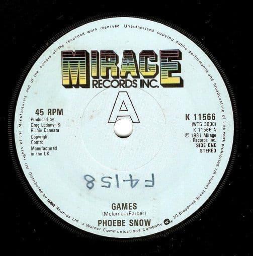 PHOEBE SNOW Games Vinyl Record 7 Inch Mirage 1981