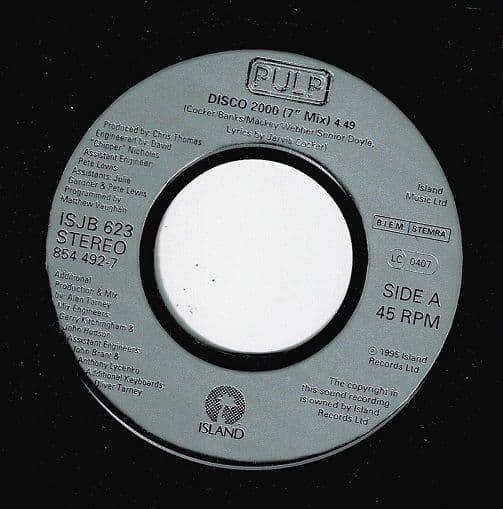 PULP Disco 2000 Vinyl Record 7 Inch Island 1996