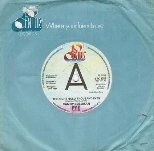 RANDY EDELMAN The Night Has A Thousand Eyes Vinyl Record 7 Inch 20th Century 1977 Promo