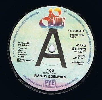 RANDY EDELMAN You Vinyl Record 7 Inch 20th Century 1976 Promo