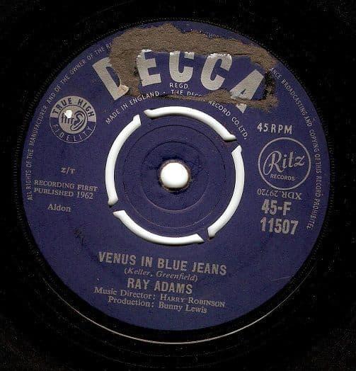 RAY ADAMS Venus In Blue Jeans Vinyl Record 7 Inch Decca 1962