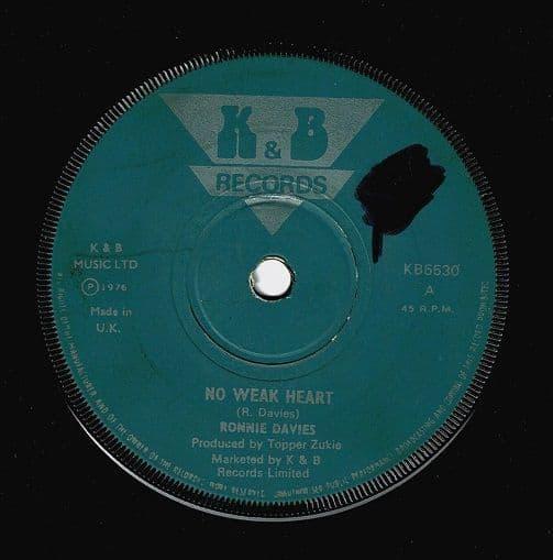 RONNIE DAVIES No Weak Heart Vinyl Record 7 Inch K&B 1976