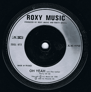 """ROXY MUSIC Oh Yeah 7"""" Single Vinyl Record 45rpm French Polydor 1980"""