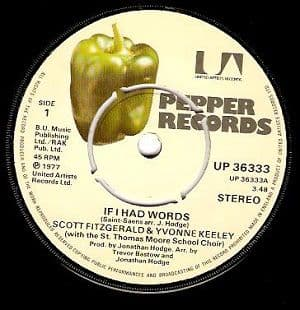 SCOTT FITZGERALD & YVONNE KEELEY If I Had Words Vinyl Record 7 Inch Pepper 1977