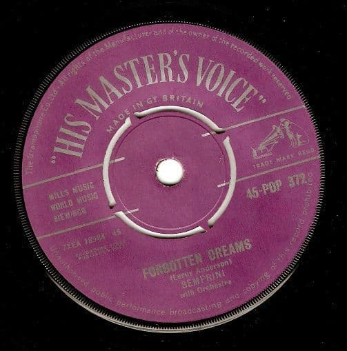 SEMPRINI Forgotten Dreams Vinyl Record 7 Inch HMV 1957