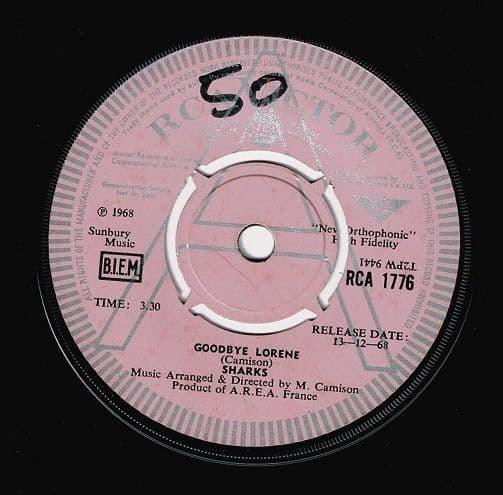 SHARKS Goodbye Lorene Vinyl Record 7 Inch RCA Victor 1968 Demo