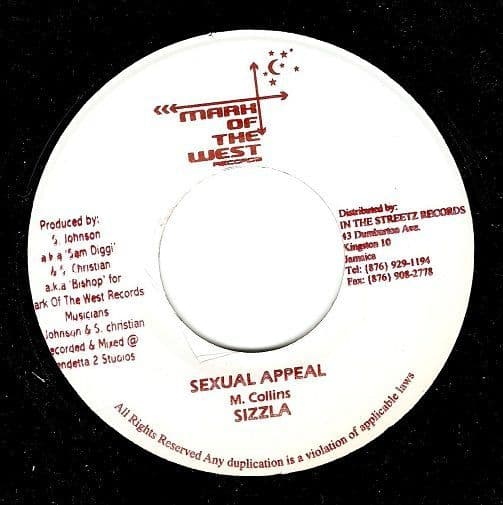 SIZZLA Sexual Appeal Vinyl Record 7 Inch Jamaican Mark Of The West 2003