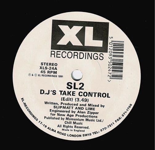 SL2 D.J's Take Control Vinyl Record 7 Inch XL 1991