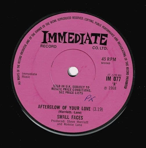 SMALL FACES Afterglow Of Your Love Vinyl Record 7 Inch Immediate 1969