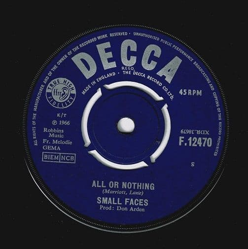 SMALL FACES All Or Nothing Vinyl Record 7 Inch Decca 1966