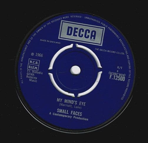 SMALL FACES My Mind's Eye Vinyl Record 7 Inch Decca 1966