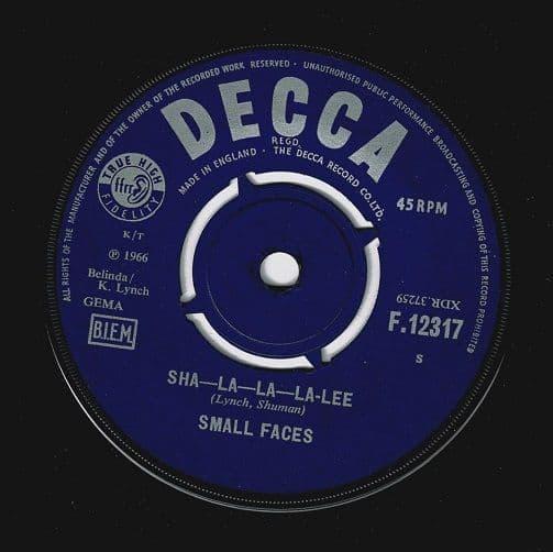SMALL FACES Sha-La-La-La-Lee Vinyl Record 7 Inch Decca 1966