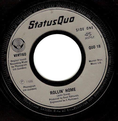 STATUS QUO Rollin' Home Vinyl Record 7 Inch Vertigo 1986