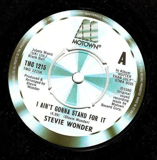 STEVIE WONDER I Ain't Gonna Stand For It Vinyl Record 7 Inch Motown 1980