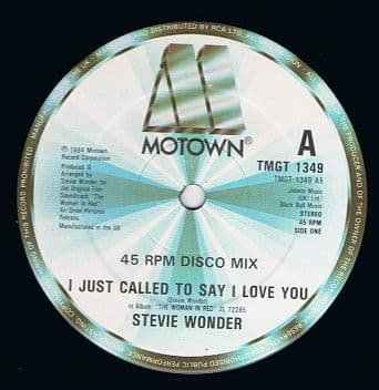 "STEVIE WONDER I Just Called To Say I Love You (Disco Mix) 12"" Single Vinyl Record Motown 1984"