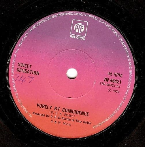 SWEET SENSATION Purely By Coincidence Vinyl Record 7 Inch Pye 1974