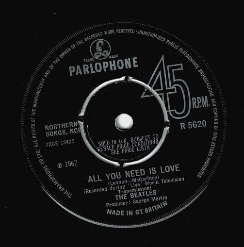 THE BEATLES All You Need Is Love Vinyl Record 7 Inch Parlophone 1967.
