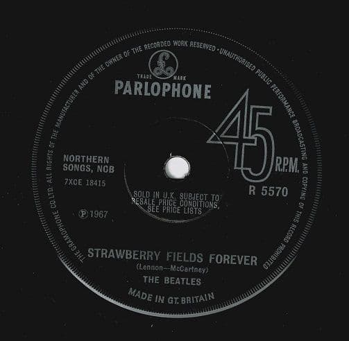 THE BEATLES Strawberry Fields Forever Vinyl Record 7 Inch Parlophone 1967