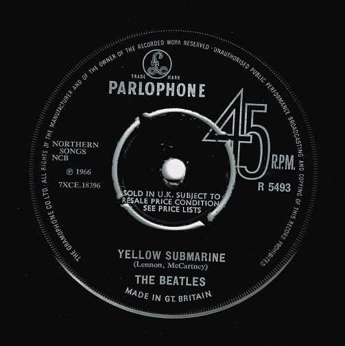 THE BEATLES Yellow Submarine Vinyl Record 7 Inch Parlophone 1966