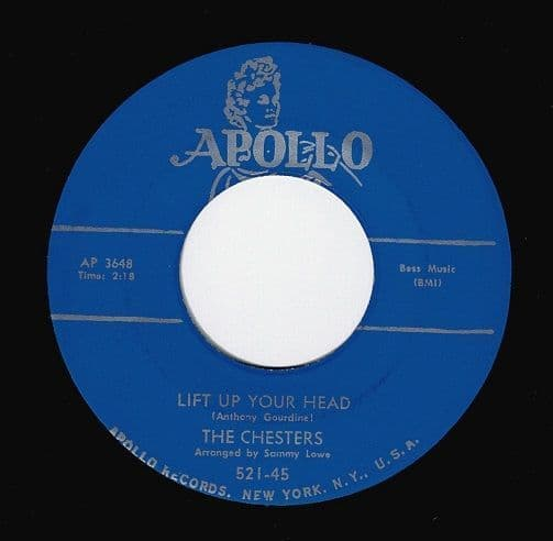 THE CHESTERS Lift Up Your Head Vinyl Record 7 Inch US Apollo