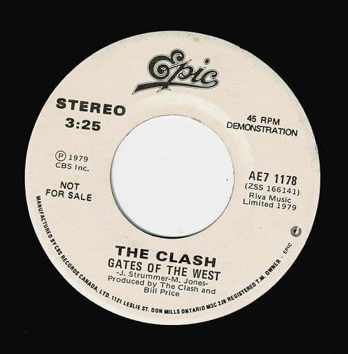THE CLASH Gates Of The West Vinyl Record 7 Inch Canadian Epic 1979 Demo