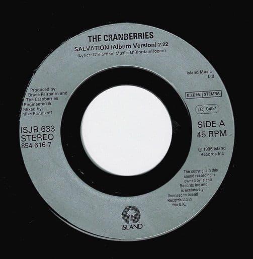 THE CRANBERRIES Salvation Vinyl Record 7 Inch Island 1996