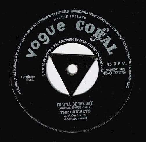 THE CRICKETS That'll Be The Day Vinyl Record 7 Inch Vogue Coral 1957