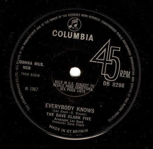 THE DAVE CLARK FIVE Everybody Knows Vinyl Record 7 Inch Columbia 1967