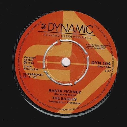 THE EAGLES Rasta Pickney Vinyl Record 7 Inch Dynamic 1976