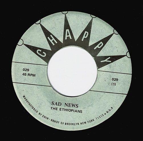 THE ETHIOPIANS Sad News Vinyl Record 7 Inch US Chappy
