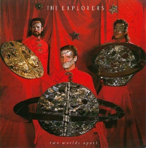 THE EXPLORERS Two Worlds Apart Vinyl Record 12 Inch Virgin 1985 Signed