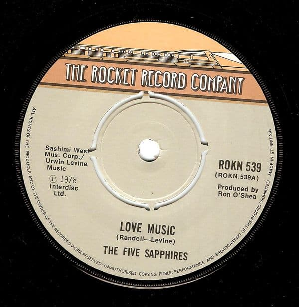 THE FIVE SAPPHIRES Love Music Vinyl Record 7 Inch Rocket 1978