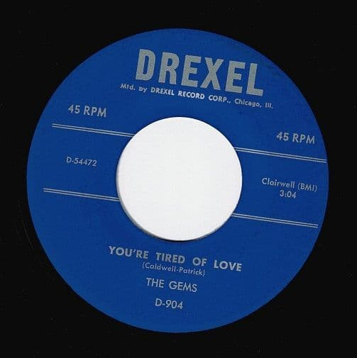THE GEMS You're Tired Of Love Vinyl Record 7 Inch Drexel
