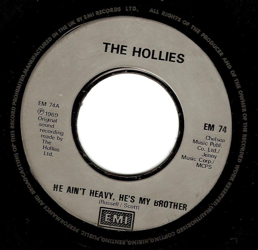 THE HOLLIES He Ain't Heavy, He's My Brother Vinyl Record 7 Inch EMI 1988