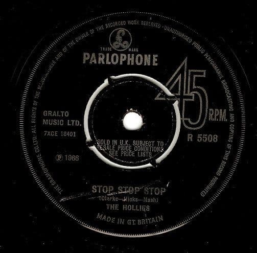 THE HOLLIES Stop Stop Stop Vinyl Record 7 Inch Parlophone 1966