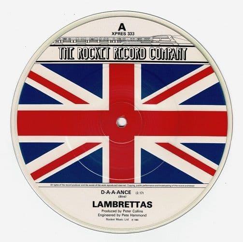 THE LAMBRETTAS D-a-a-ance Vinyl Record 7 Inch Rocket 1980 Picture Disc