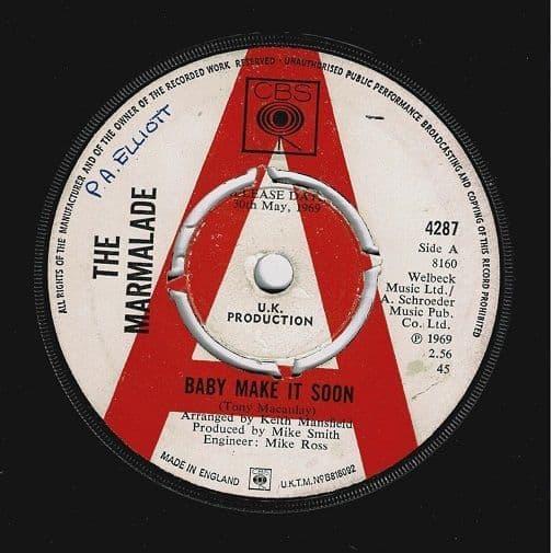 THE MARMALADE Baby Make It Soon Vinyl Record 7 Inch CBS 1969 Promo