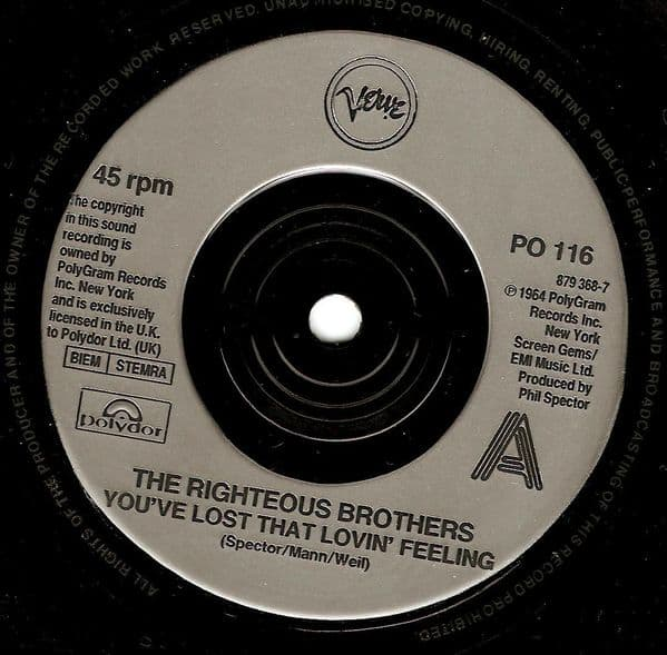 THE RIGHTEOUS BROTHERS You've Lost That Lovin' Feeling Vinyl Record 7 Inch Verve 1990