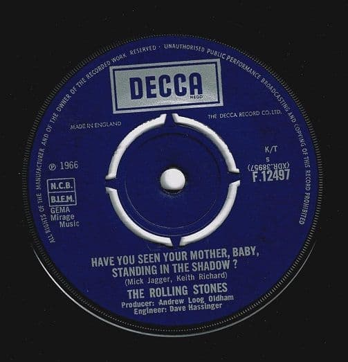 THE ROLLING STONES Have You Seen Your Mother Vinyl Record 7 Inch Decca 1966